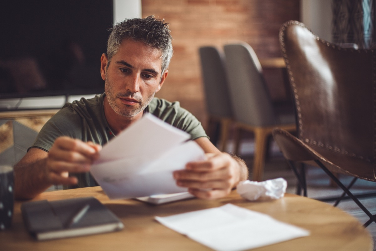 Man worried about his monthly payments