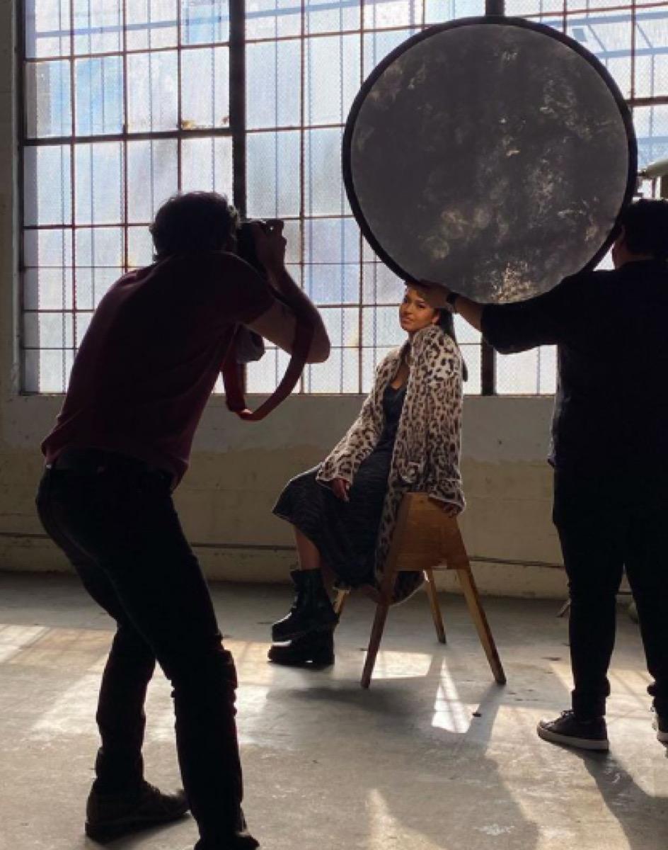 Natalia Bryant modeling behind-the-scenes