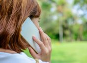 Woman on the phone outside