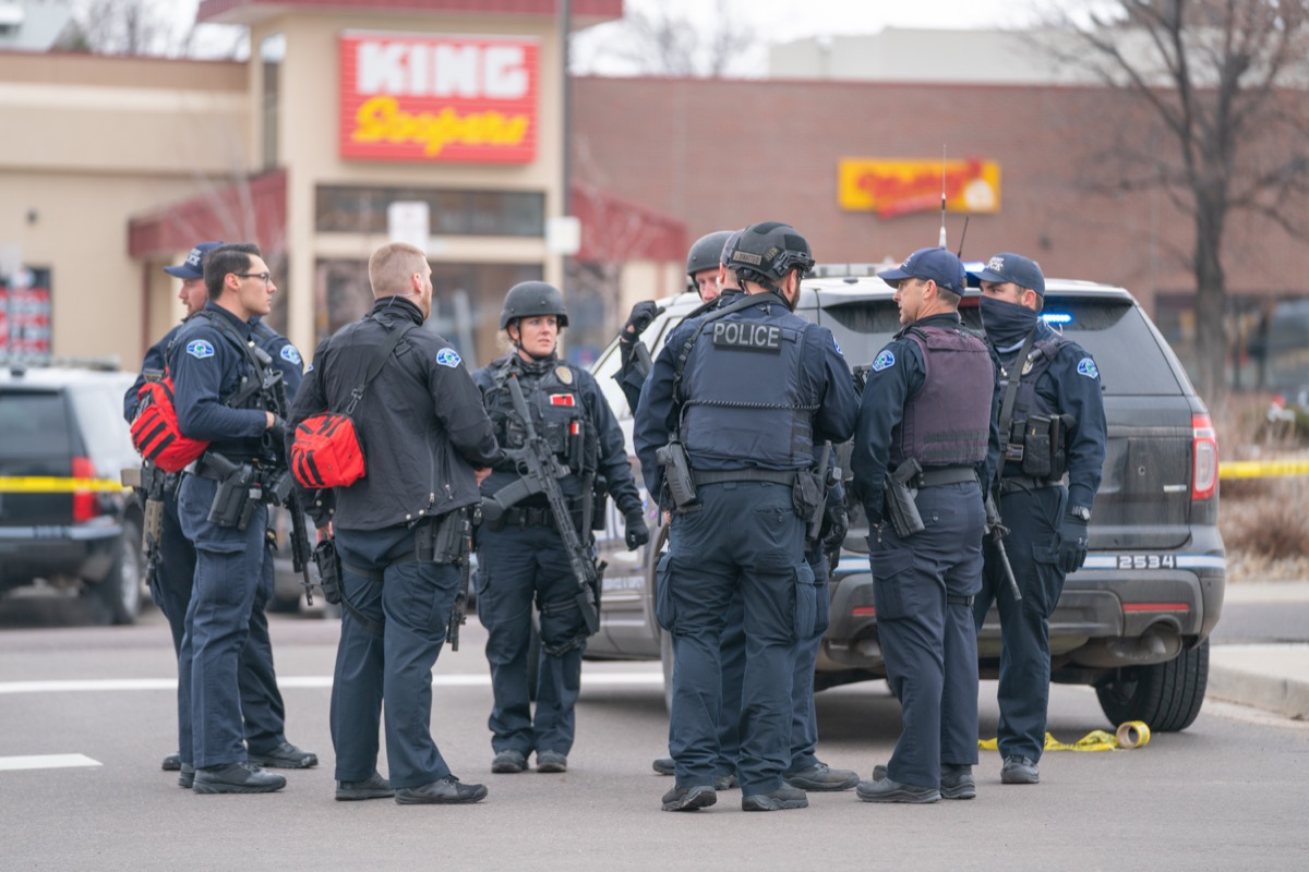 police officers outside king soopers supermarket in boulder colorado after mass shooting