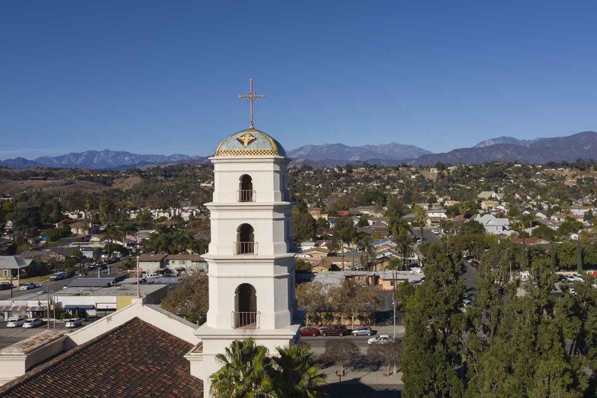 Aerial afternoon view of the historic religious center of downtown Pomona, California, USA.