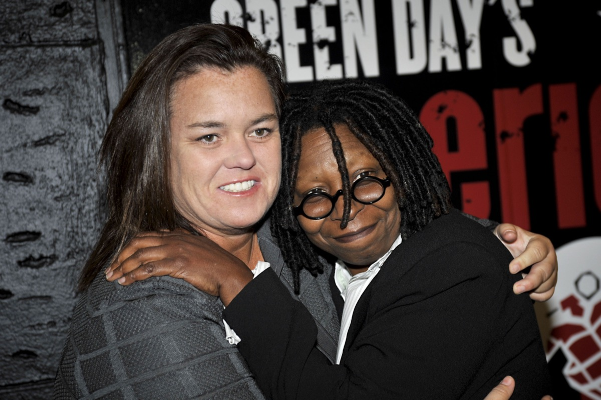 """Rosie O'Donnell and Whoopi Goldberg at the opening of """"Green Day's American Idiot"""" in 2010"""