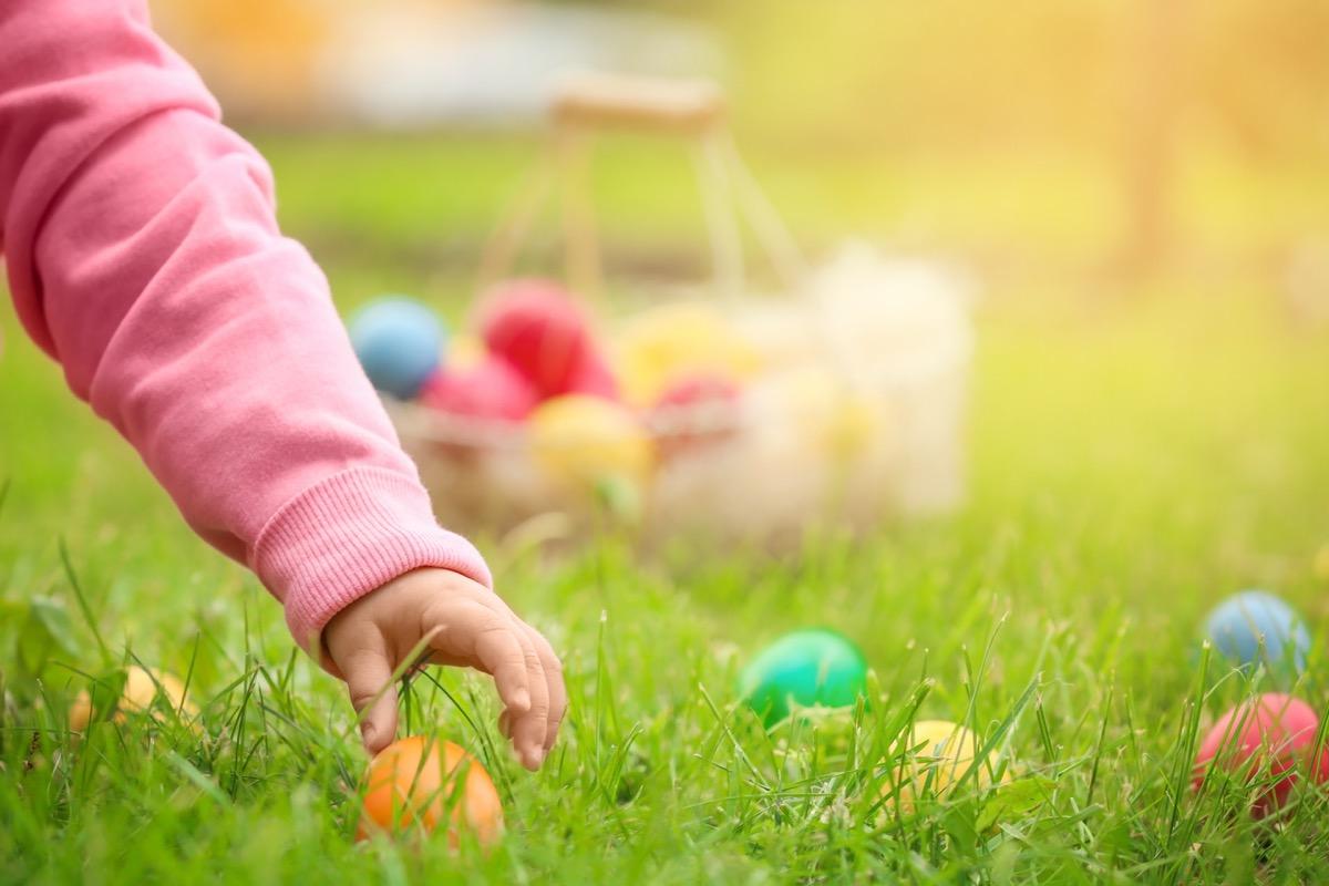 child's hand grabbing easter egg, boiled eggs