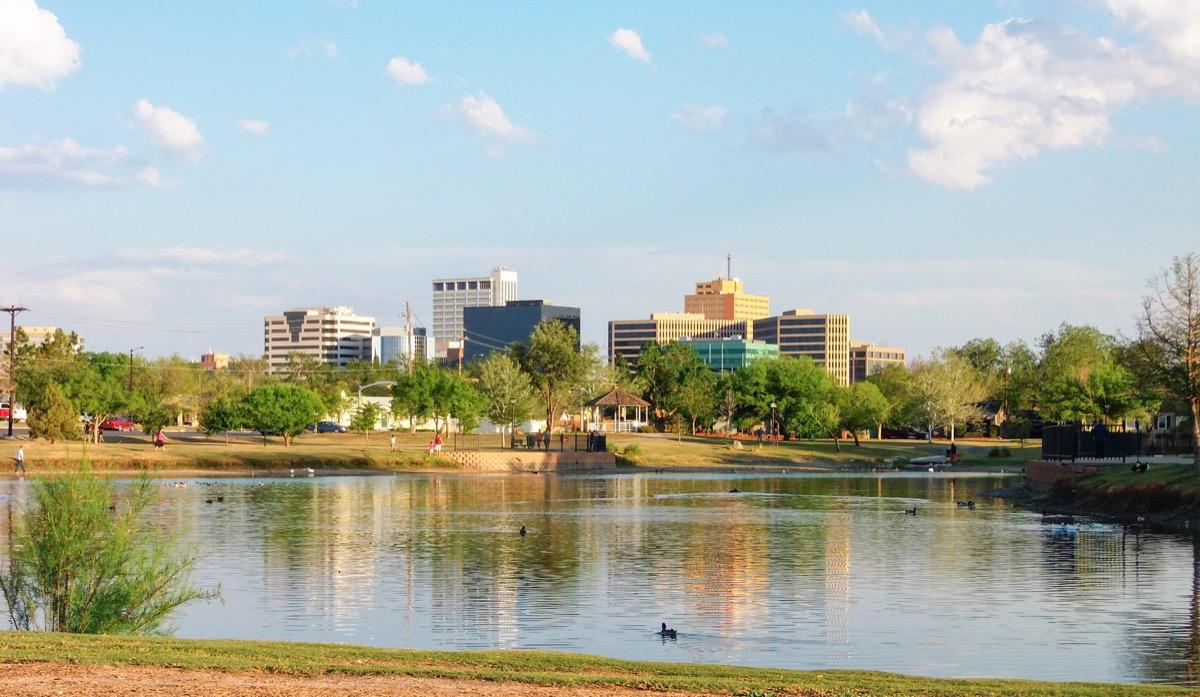 downtown midland, texas, sunny day, pond, wadley barron park