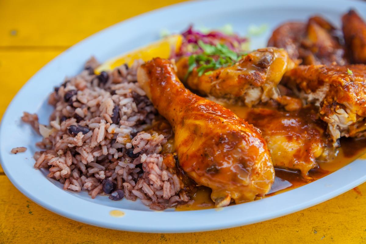 Caribbean food, jerk chicken