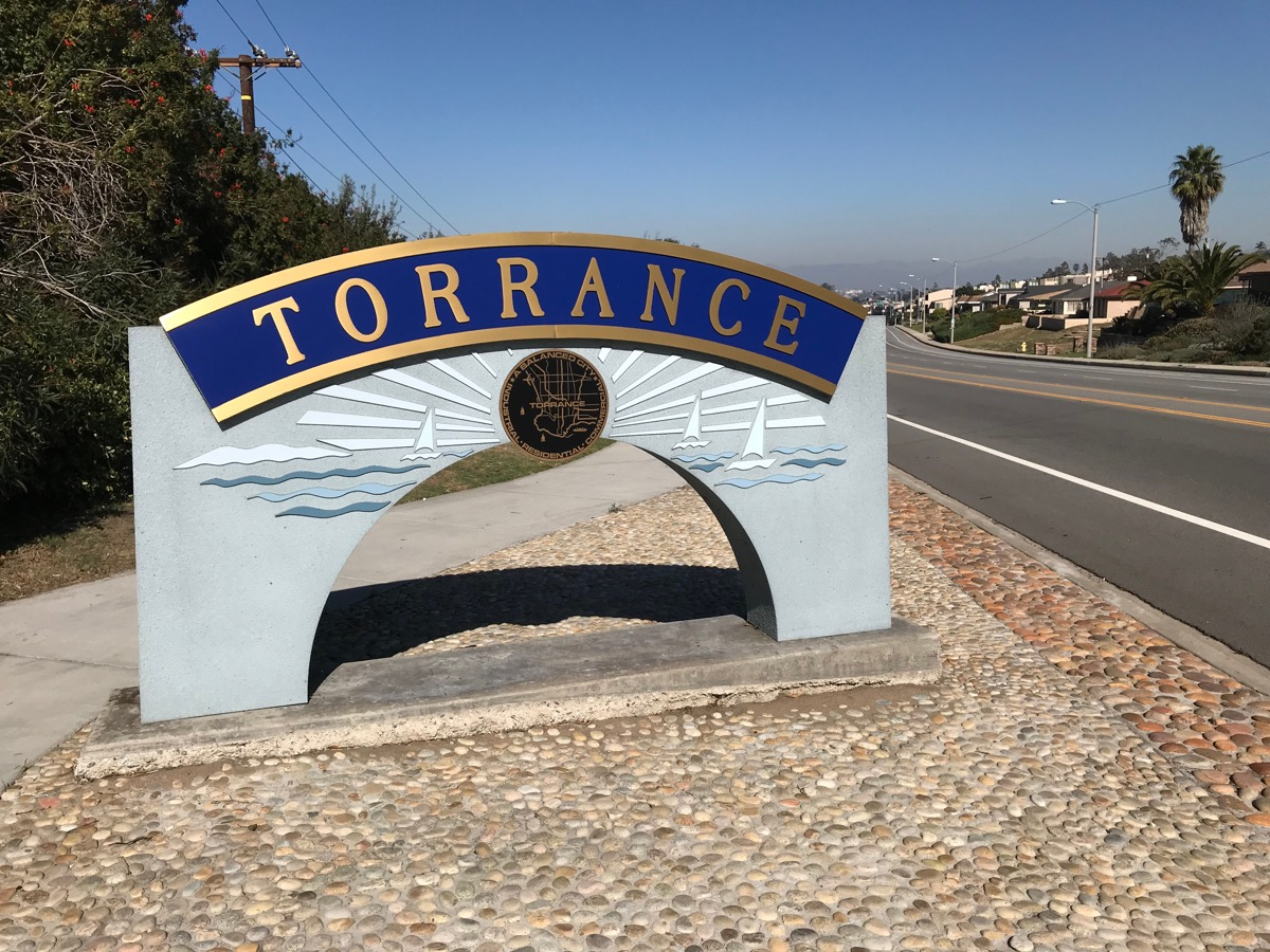 blue and gold street sign, torrance, california