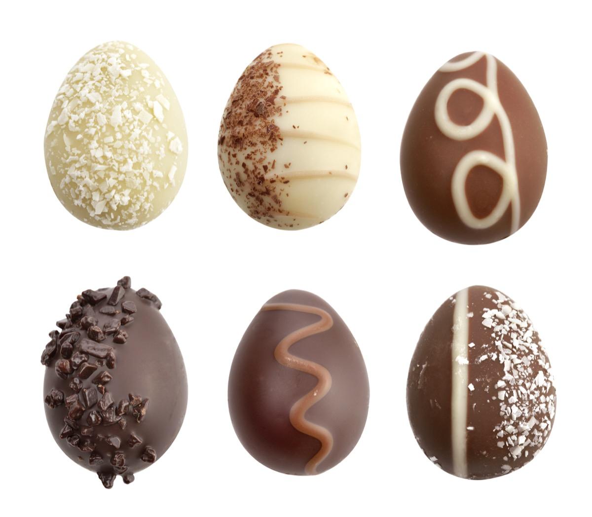 white chocolate eggs, dark chocolate easter eggs