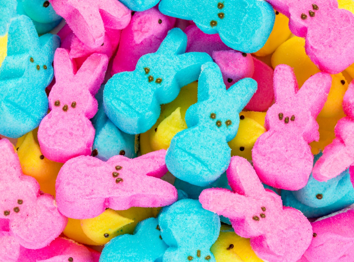 pink, blue, yellow peeps, easter candy