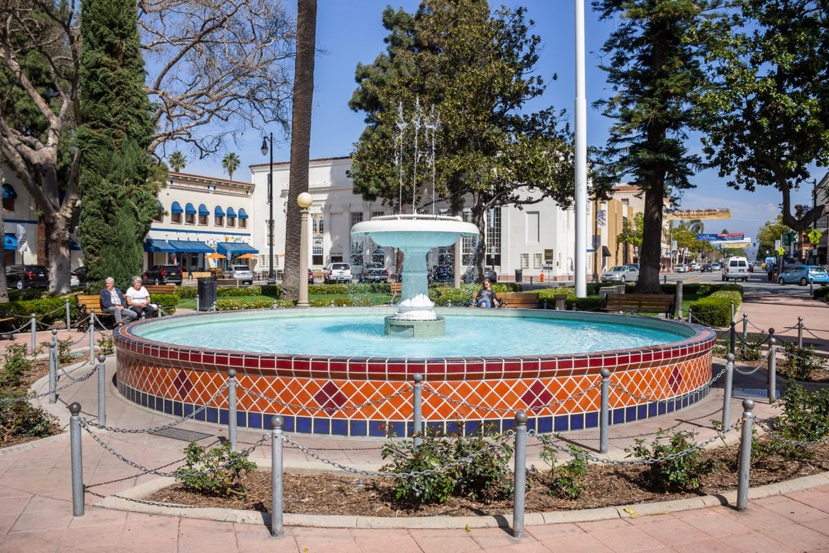 fountain, traffic circle, orange, california, orange plaza