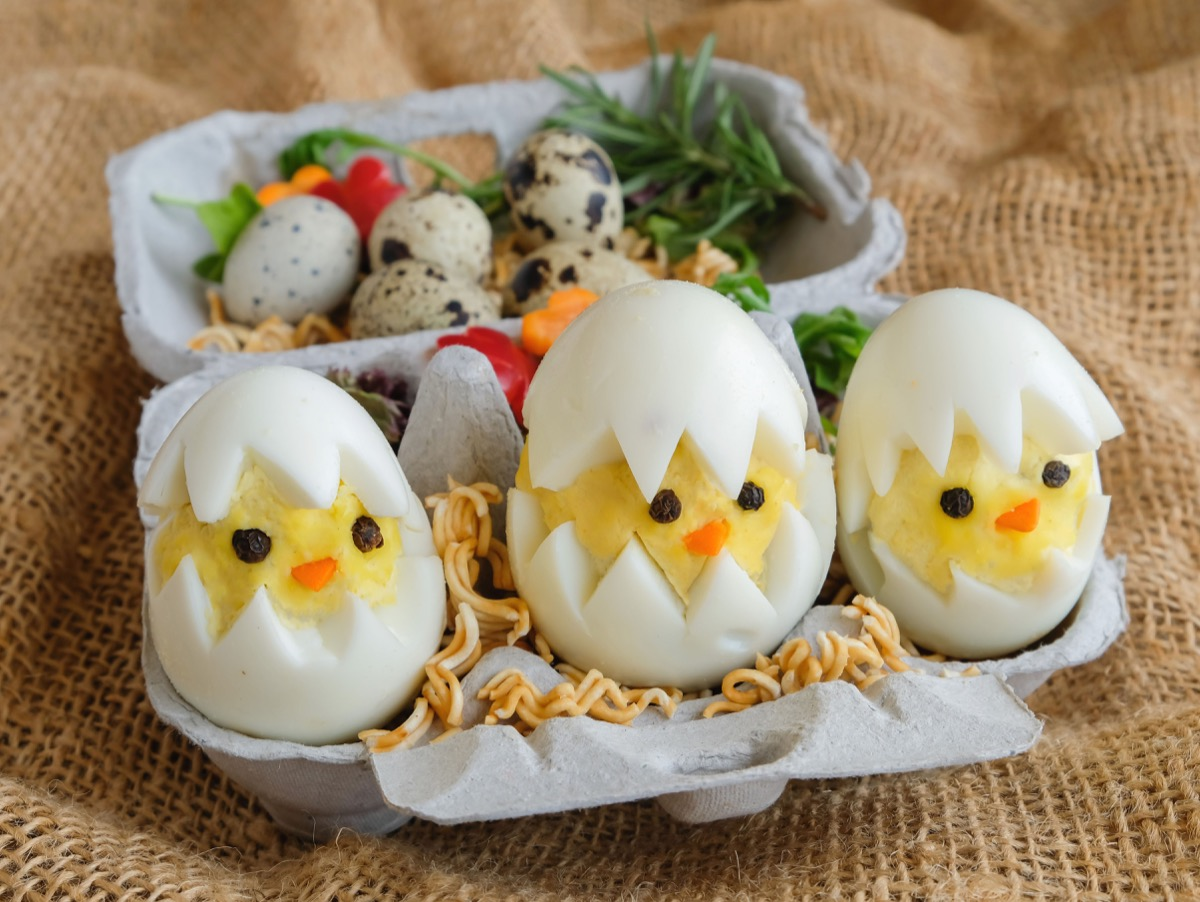 boiled easter eggs decorated
