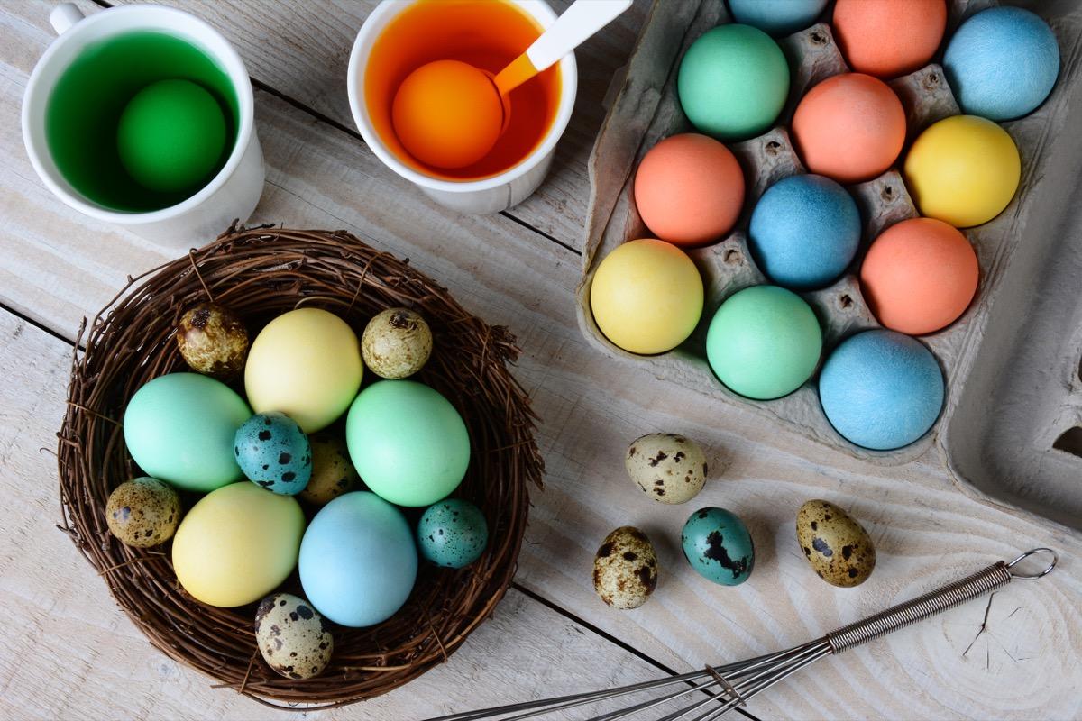 easter eggs, various colors, orange egg, green egg