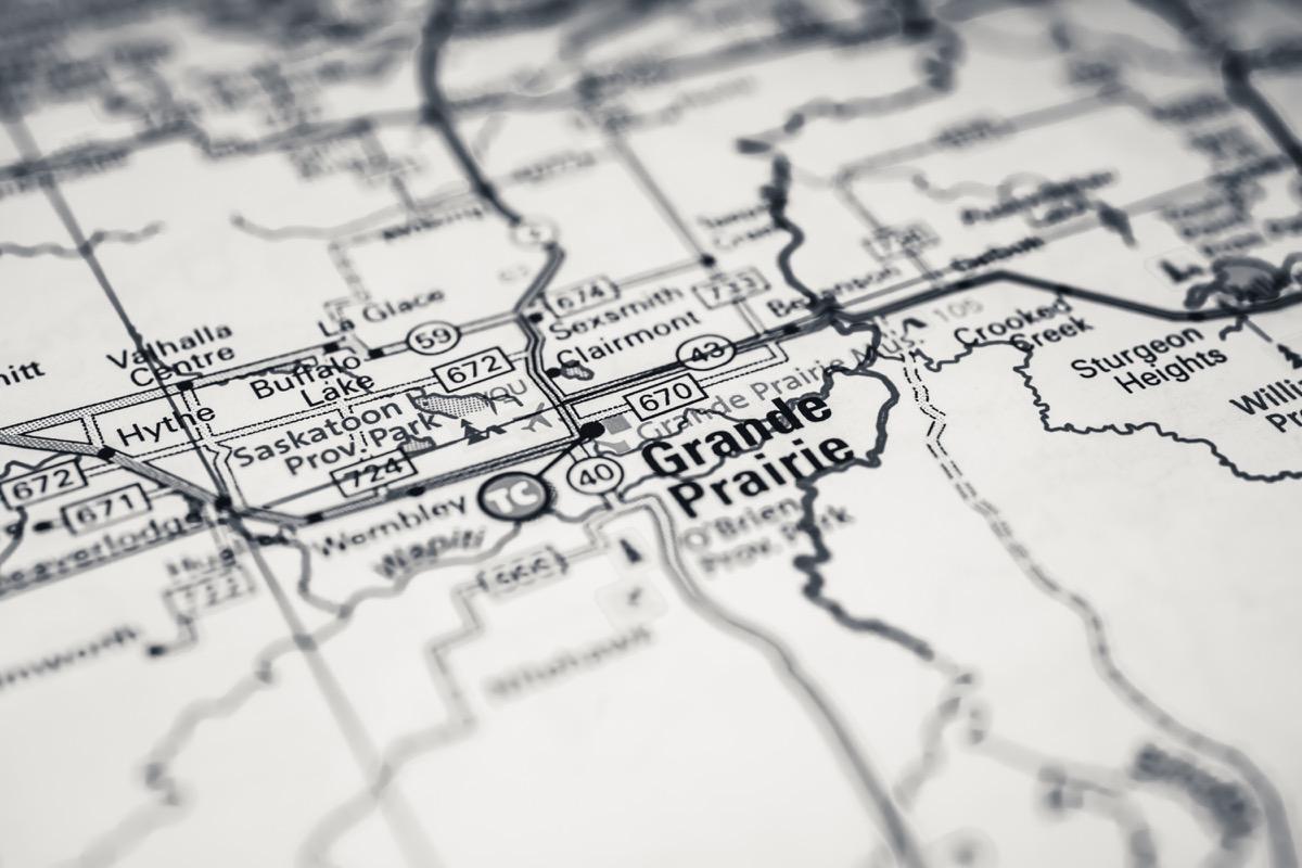 grand prairie, texas, black-and-white map