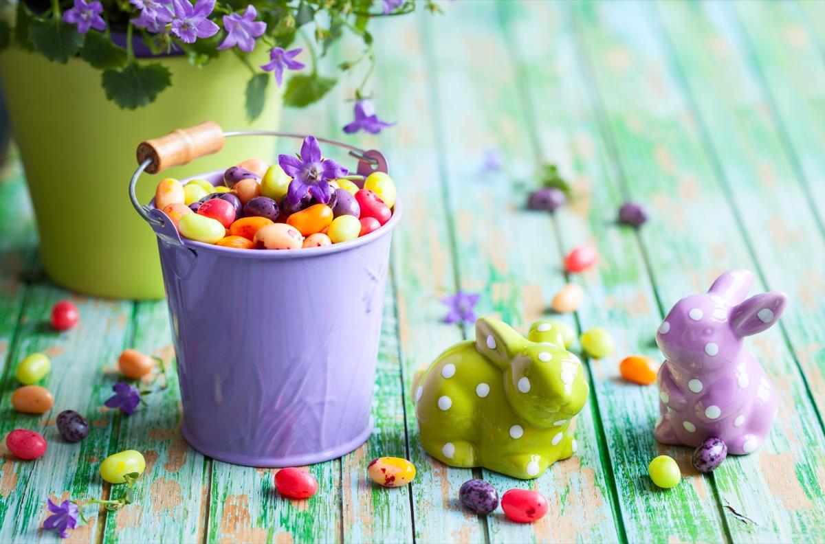 jelly beans in purple basket