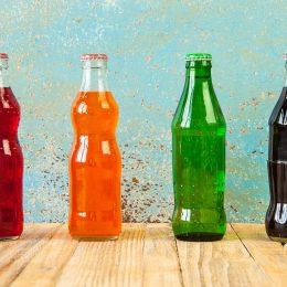 Unlabeled soda bottles