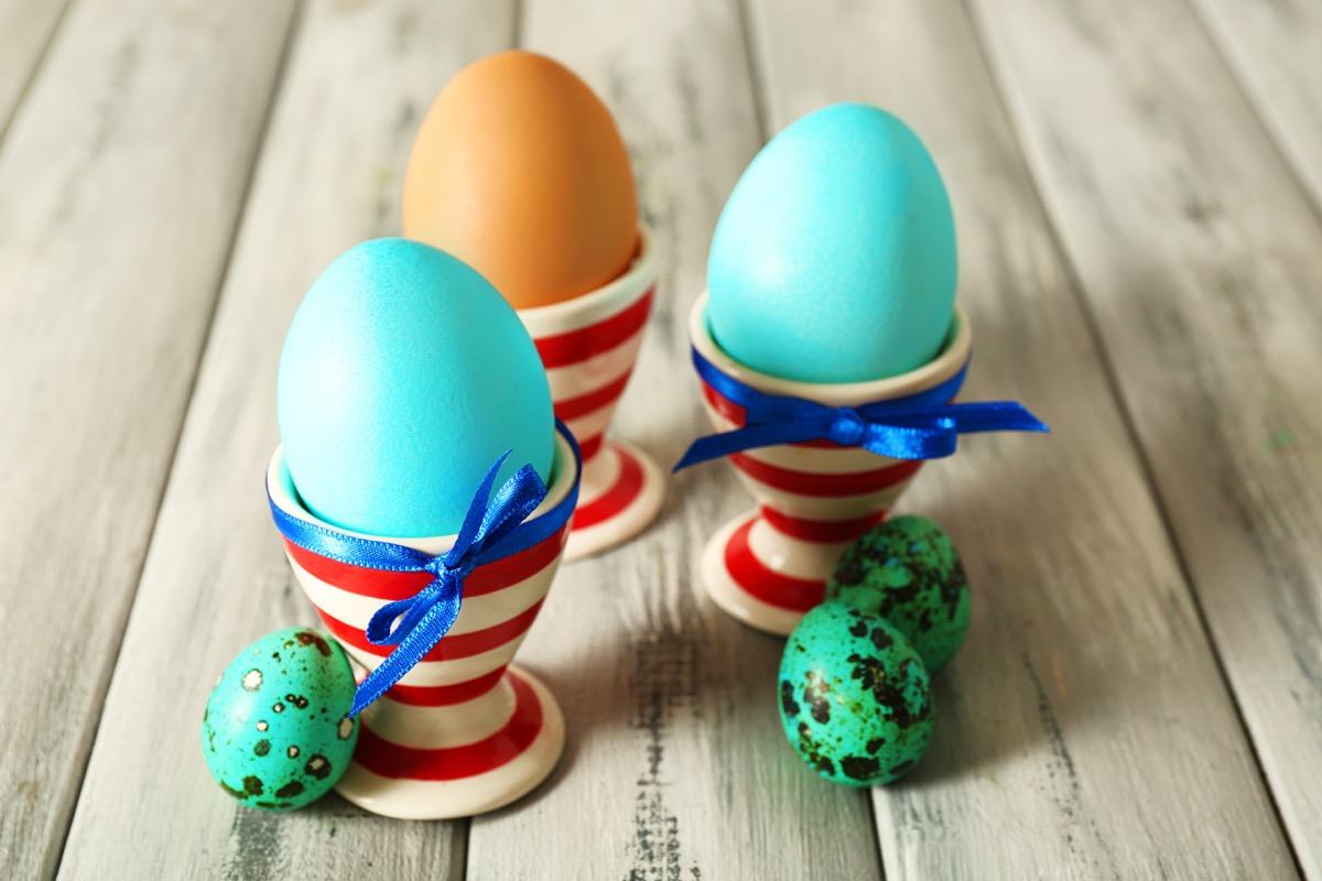 boiled easter eggs in holder