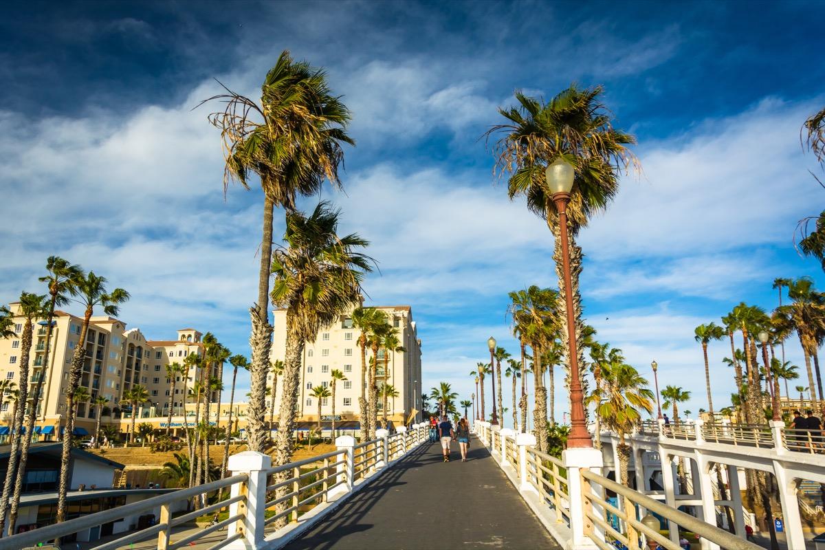 walkway pier, palm trees, oceanside, california