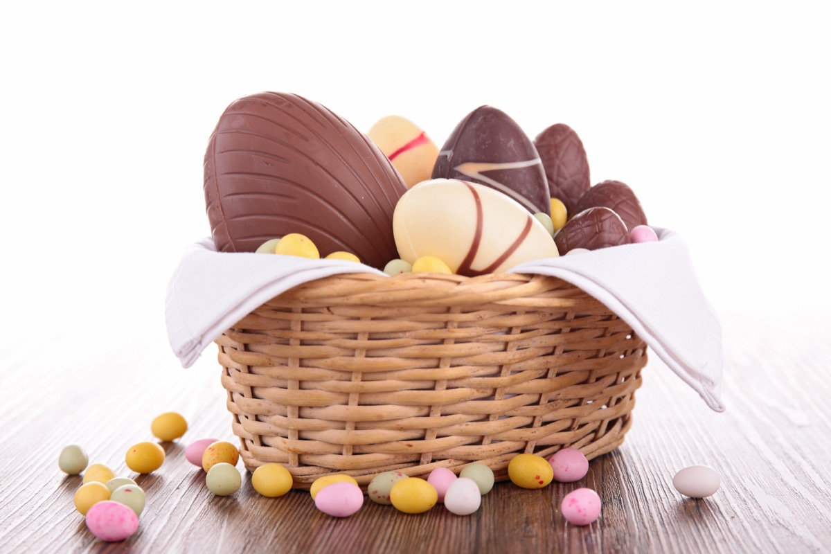 assortment of chocolate eggs in basket