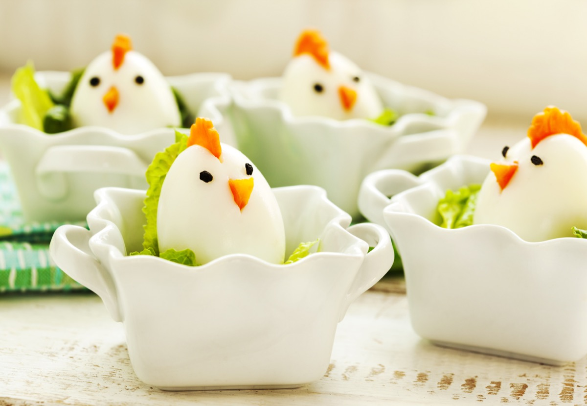 boiled easter eggs decorated like chickens