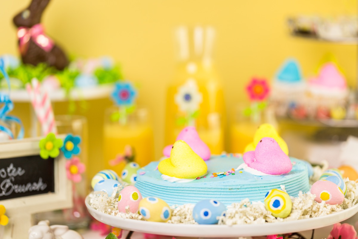 yellow, purple pees on easter cake