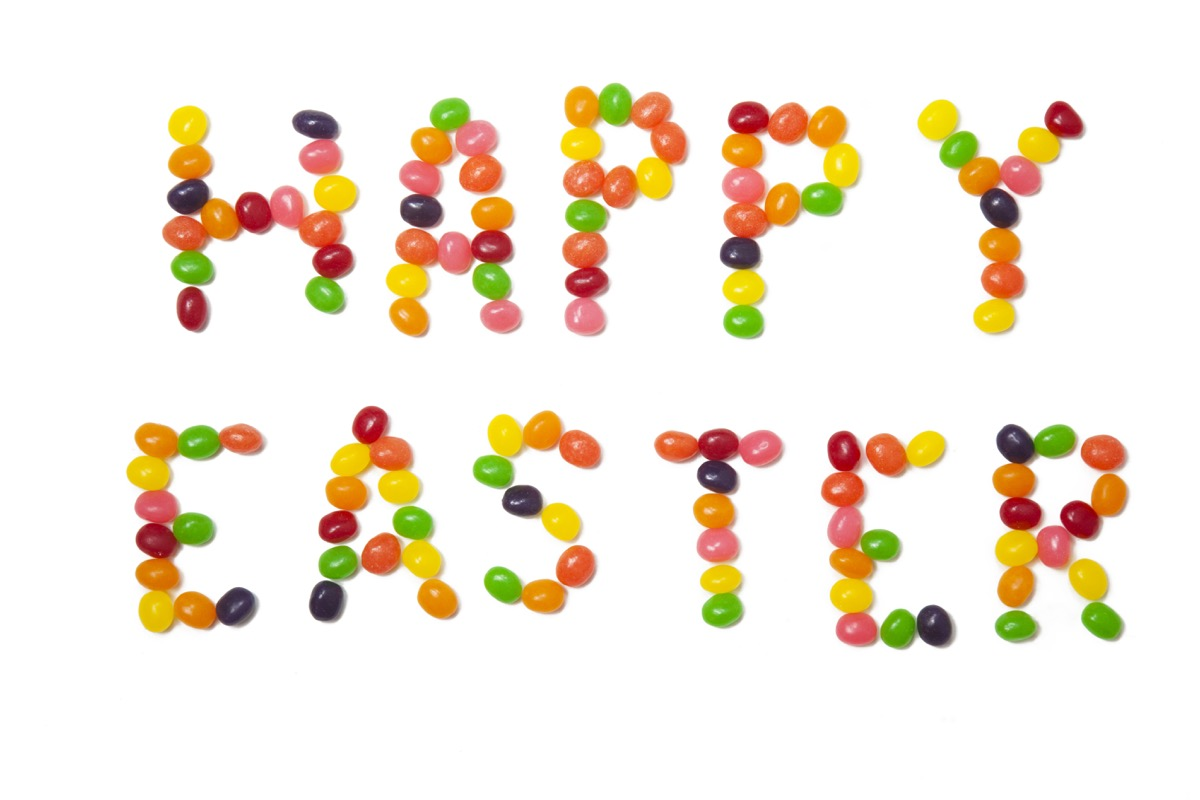 jelly beans spelled out as happy easter