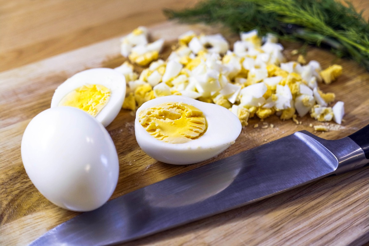 boiled easter eggs on a wooden board