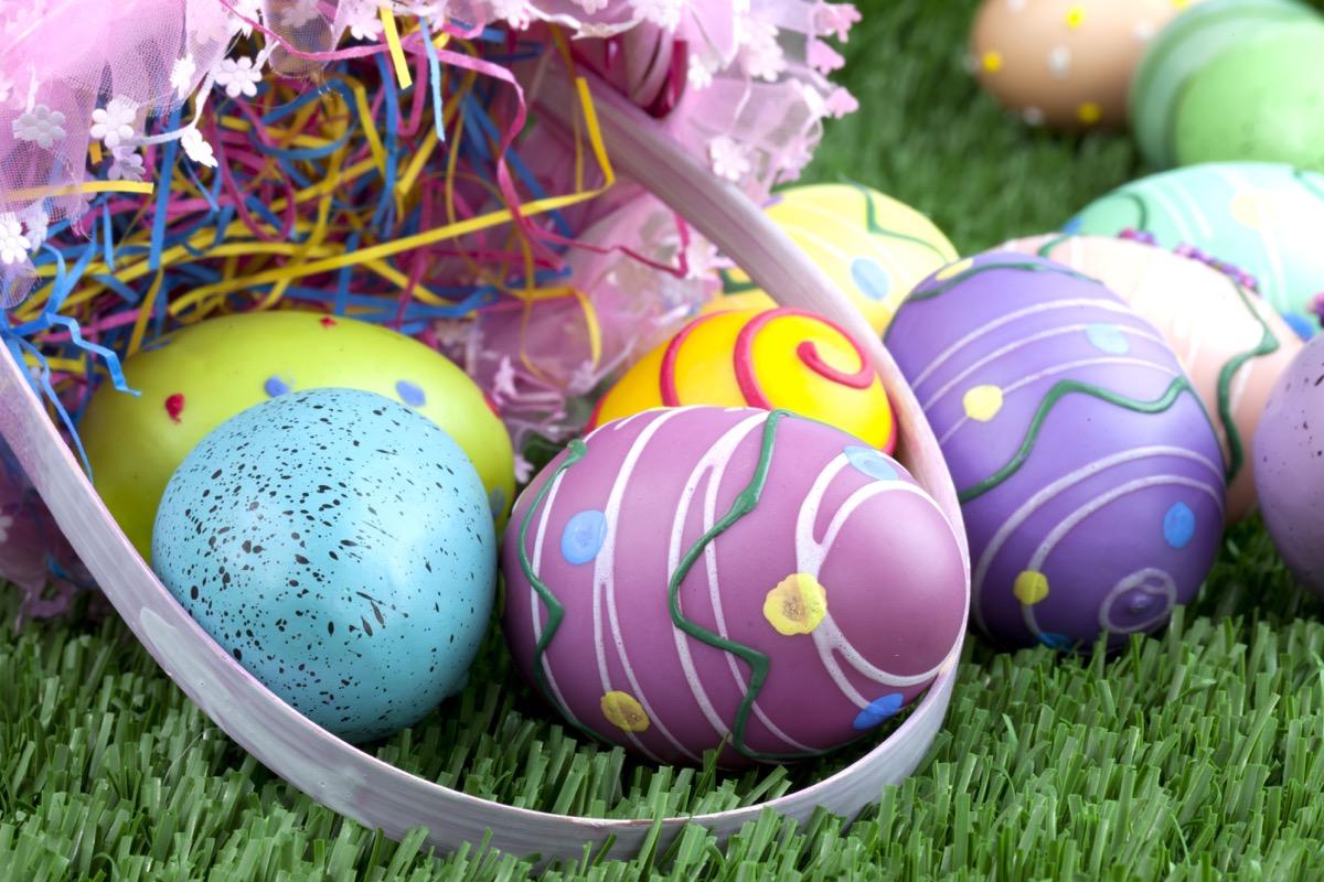 easter eggs, boiled eggs on grass