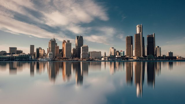 The skyline of Detroit, Michigan as seen from Lake Michigan