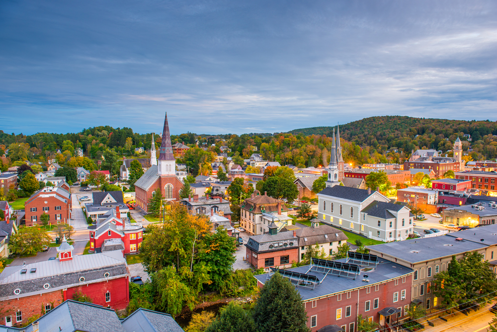 An aerial view of Montpelier, Vermont