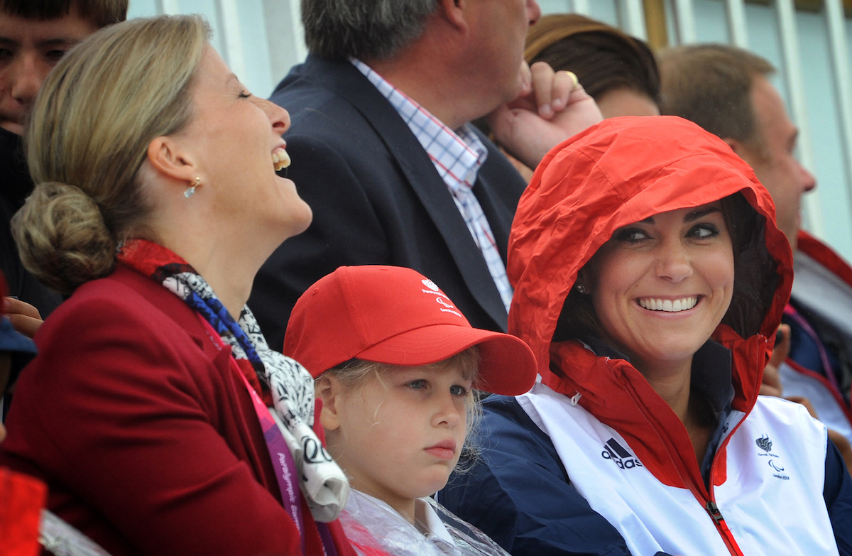 Britain's Catherine, Duchess of Cambridge, (R) Lady Louise Windsor (C) and and Sophie, Countess of Wessex (L) watch the rowing action during the London 2012 Paralympic Games