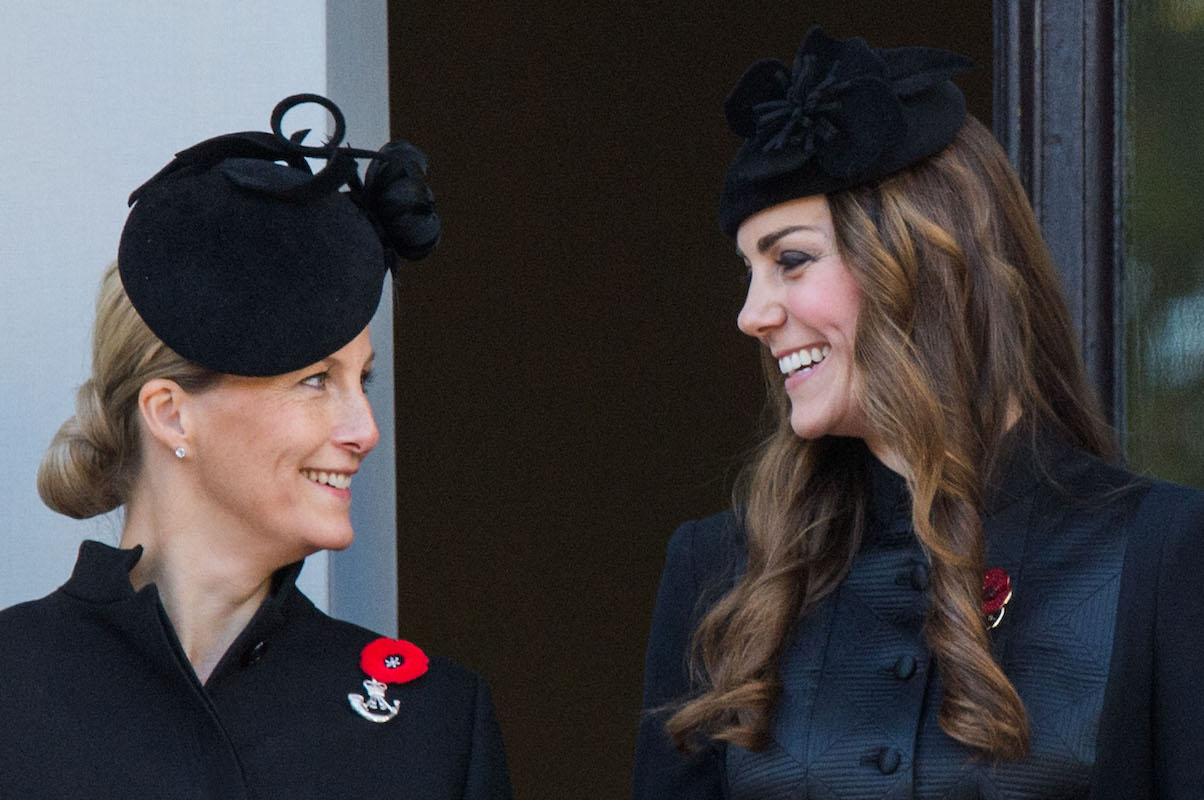 Sophie, Countess of Wessex and Cahterine, Duchess of Cambridge attend Remembrance Sunday at the Cenotaph on Whitehall on November 10, 2013 in London, England
