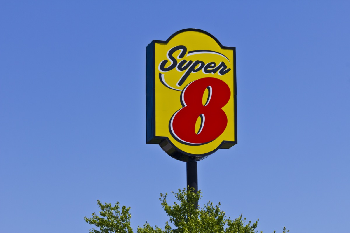Super 8 hotel sign in Indianapolis, Indiana