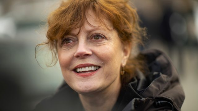 Susan Sarandon, a supporter of Democratic Presidential candidate Bernie Sanders, greets local campaign volunteers after speaking during a field office event on February 1, 2020 in Waterloo, Iowa.