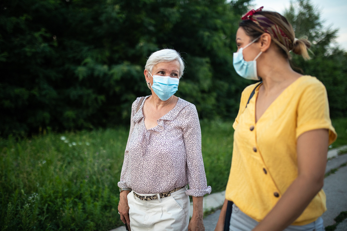 Women with protective face masks, walking down street and talking