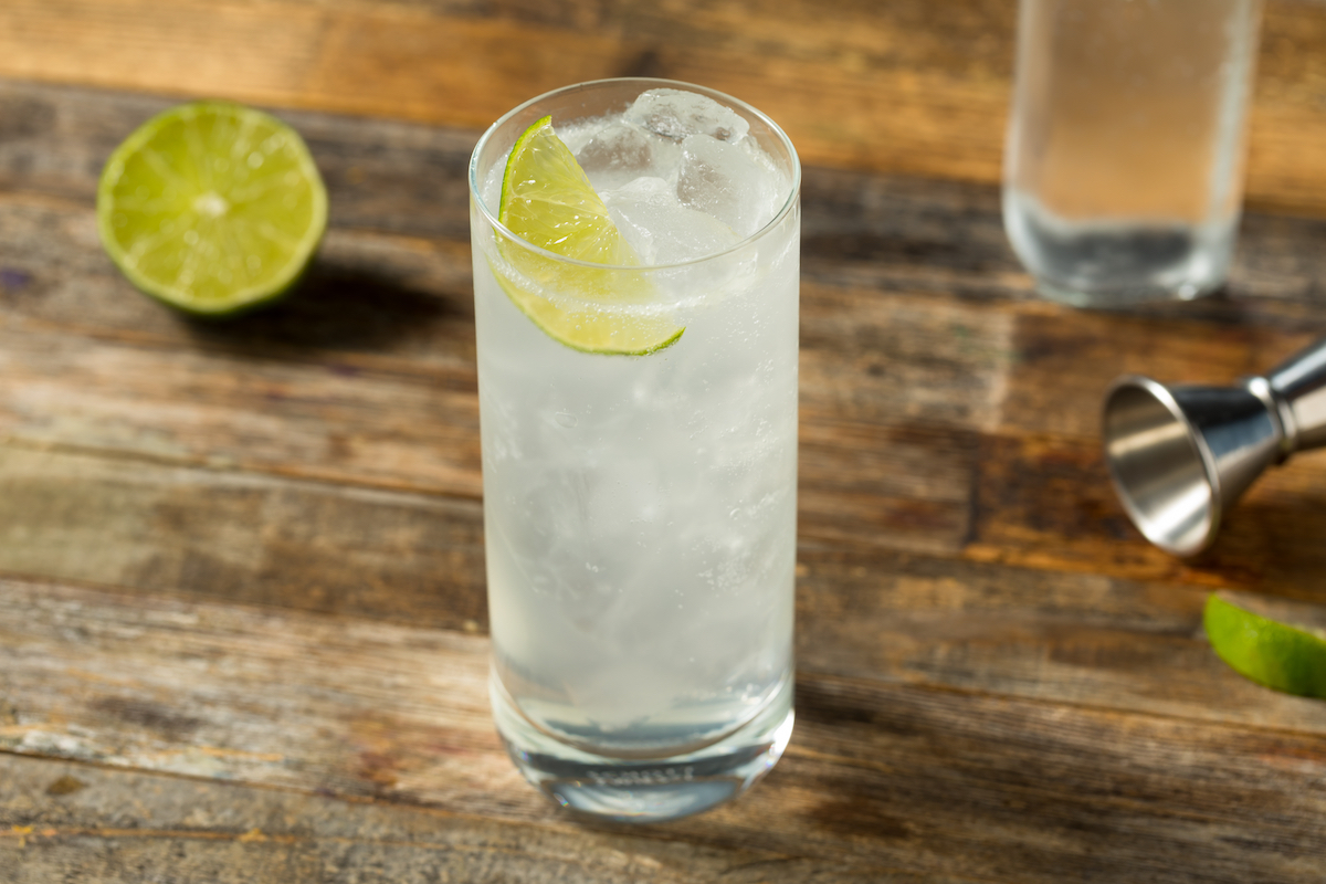 Refreshing Cold Tequila and soda with Lime