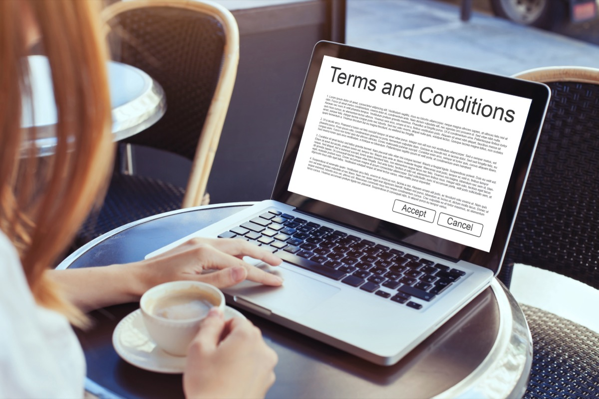 terms and conditions on a computer screen
