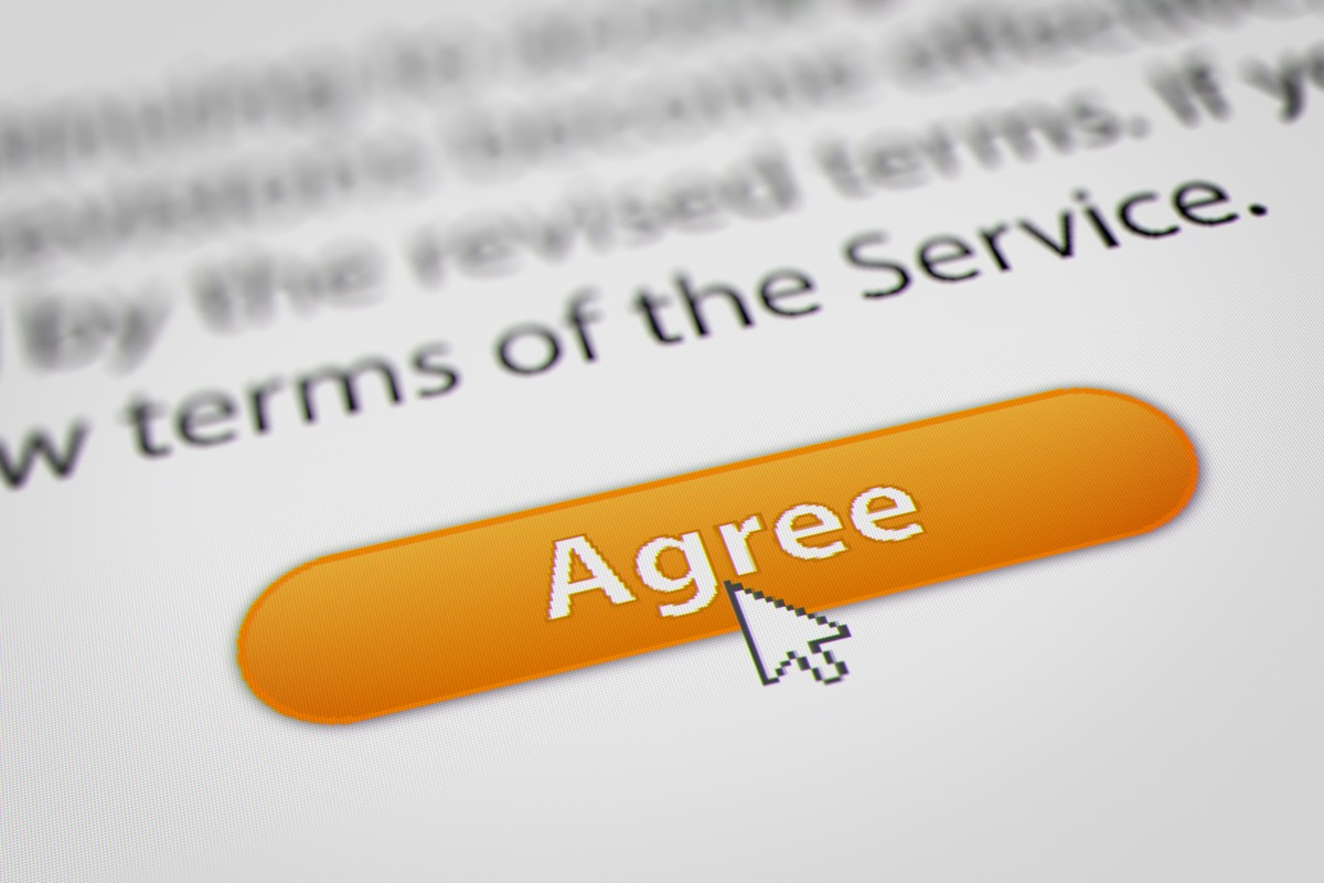 terms of service agree button
