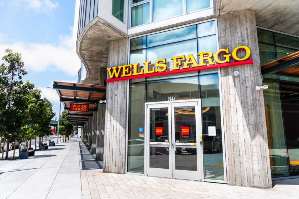 August 10, 2019 San Francisco / CA / USA - Wells Fargo branch in SOMA district