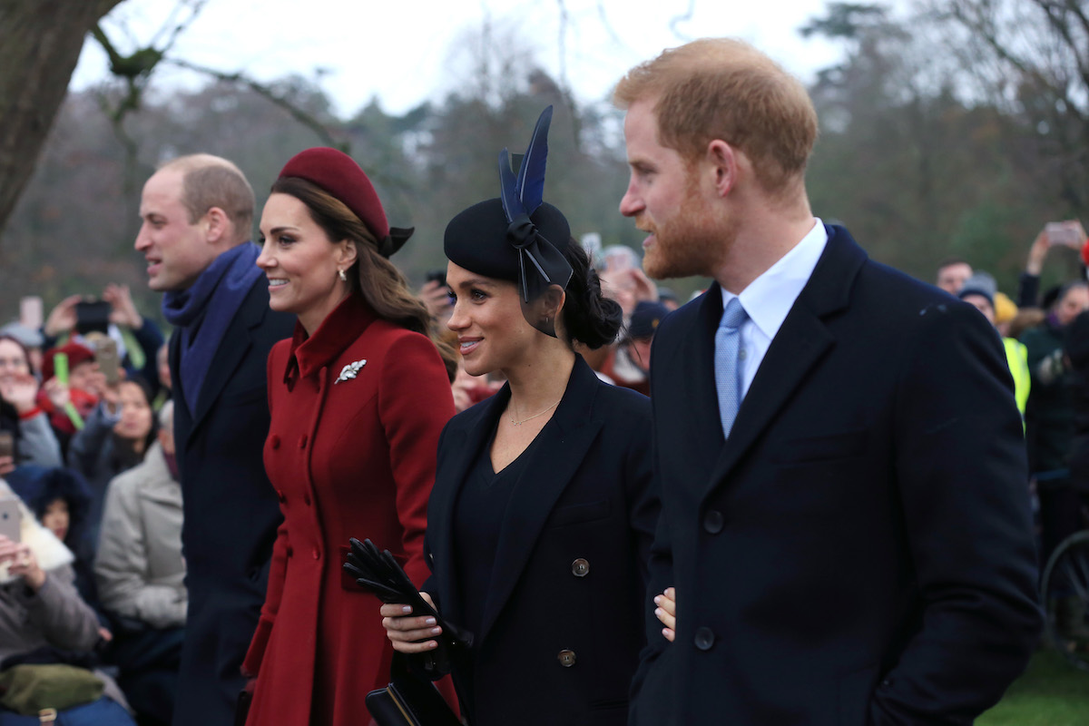 Prince William, Duke of Cambridge, Catherine, Duchess of Cambridge, Meghan, Duchess of Sussex and Prince Harry, Duke of Sussex leave after attending Christmas Day Church service at Church of St Mary Magdalene on the Sandringham estate on December 25, 2018 in King's Lynn, England