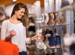 young woman shoe shopping