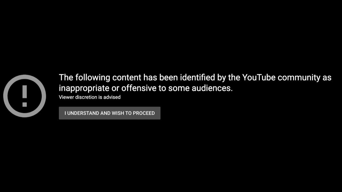 youtube disclaimer on black screen