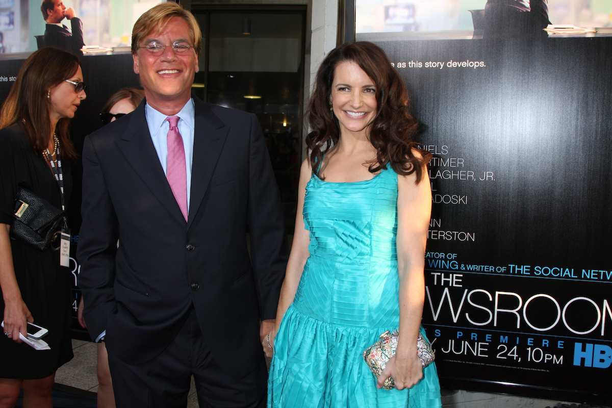 """Aaron Sorkin and Kristin Davis at the premiere of """"The Newsroom"""" in 2012"""