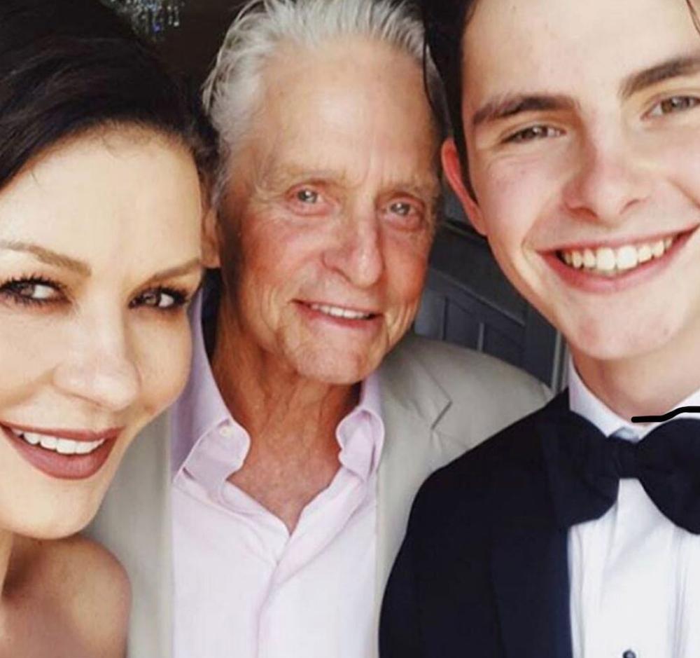 Catherine Zeta-Jones, Michael Douglas, and Dylan Douglas in an Instagram selfie