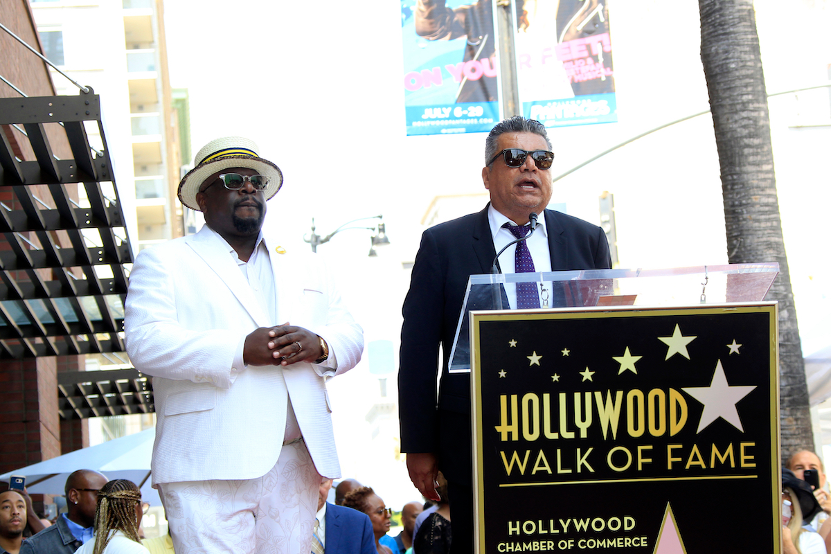 Cedric the Entertainer and George Lopez at Cedric's Hollywood Walk of Fame ceremony in 2018