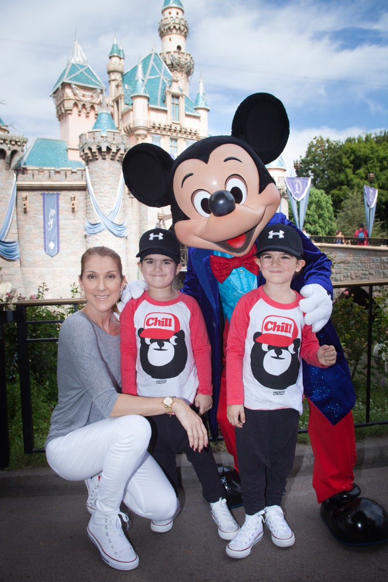 Celine Dion and twin sons with Mickey at Disney
