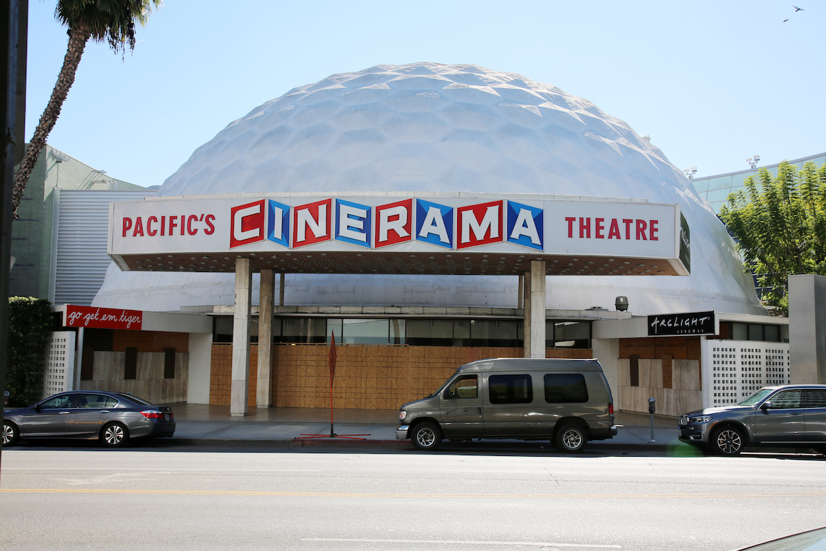 The Cinerama Dome with doors and windows boarded up in November 2020