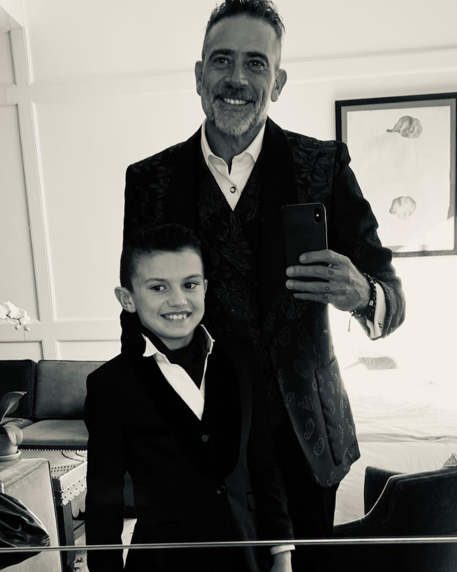 Jeffrey Dean Morgan and his son in a black and white self-portrait taken in a mirror