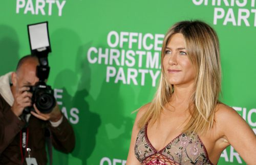 """Jennifer Aniston at the premiere of """"Office Christmas Party"""" in 2016"""