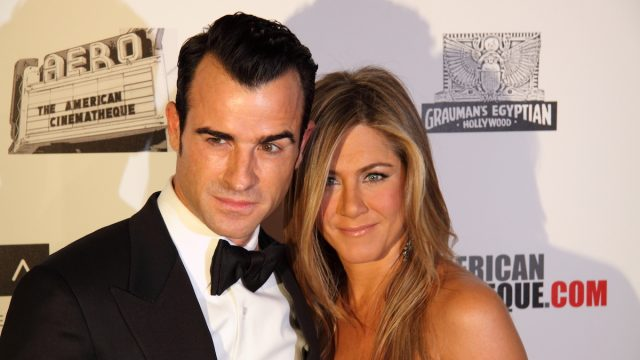 Justin Theroux and Jennifer Aniston at the American Cinematheque Awards tribute to Ben Stiller in 2012