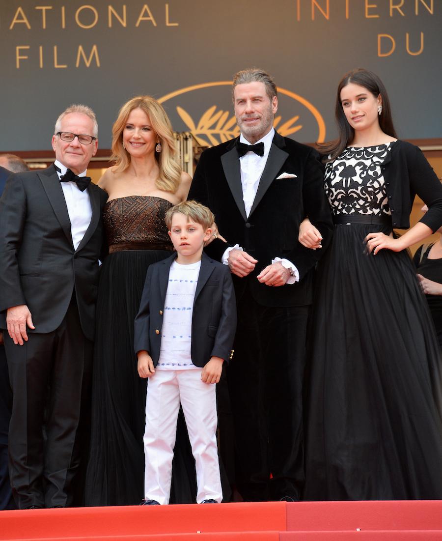 Cannes Film Festival director Thierry Fremaux, John Travolta, Kelly Preston, Ella Travolta, and Ben Travolta at the 2018 Cannes Film Festival