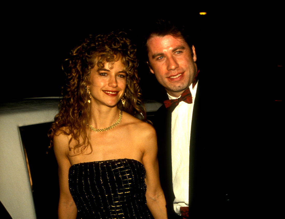 Kelly Preston and John Travolta outside of Spago restaurant in 1991